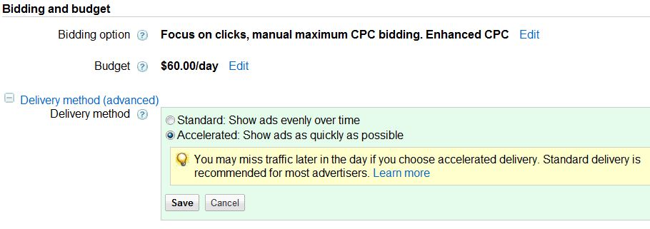 adwords campaign delivery method