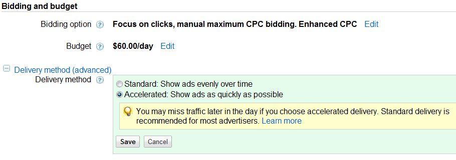 adwords campaign delivery method