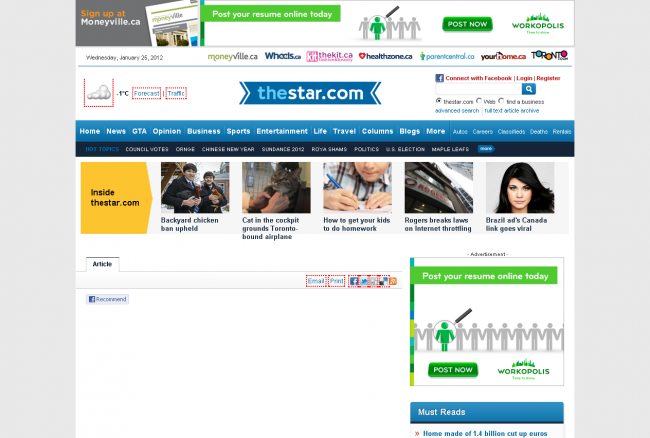 thestar.com page layout