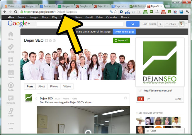 Google Plus Custom URL