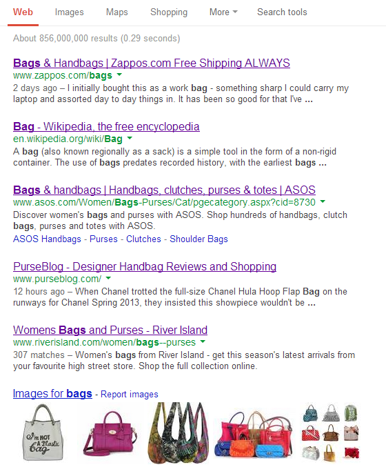 Bags search result page Google.com