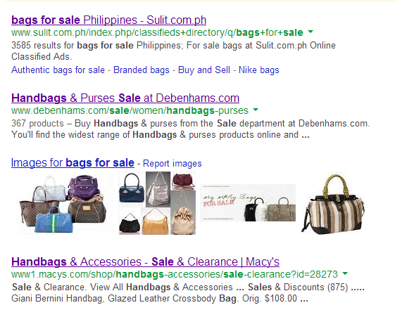 BAGS for SALE search results page google.com