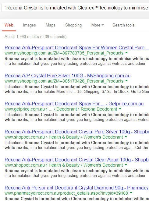 An example of a search query that shows you the problems aggregators have with content uniqueness.